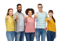International group of people showing thumbs up Stock Photo
