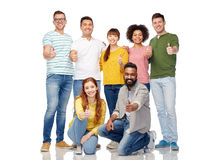 International group of people showing thumbs up Royalty Free Stock Images