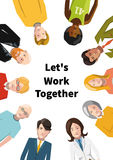 International group of people working in team. Flat illustration on white background a4 paper size format stock illustration