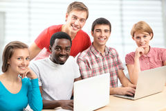 International group of students. Studying together in a university Royalty Free Stock Photography