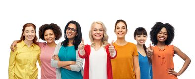 International group of women showing thumbs up royalty free stock images