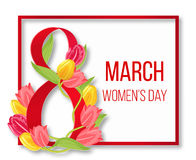 International happy womans day frame. Women 8 march red card. Banner creative to woman day illustration vector illustration