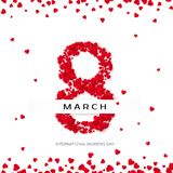 International Happy Women`s Day celebration concept. Eight is lined with hearts on a white background decorated with scattered hearts. Vector illustration Royalty Free Stock Images