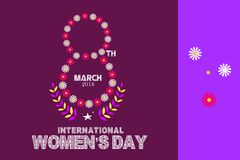 International Happy Women`s Day celebration concept with stylish floral decorated text 8th March on brown background.  royalty free illustration