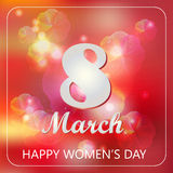 International Happy Women`s Day celebration concept with text 8th of March Lettering Typography on a Red Background. Vector illustration for cards, banners royalty free illustration
