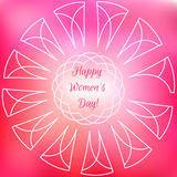 International Happy Women`s Day celebration inspire greeting on colourful pink background. Vector illustration Royalty Free Stock Photo