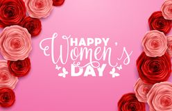 International Happy Women`s Day greeting card with roses flower on pink background. Illustration of International Happy Women`s Day greeting card with roses Stock Image