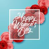 International Happy Women`s Day greeting card with roses flowers and square frame on blue background. Illustration of International Happy Women`s Day greeting stock illustration
