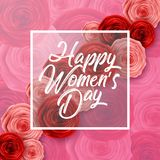International Happy Women`s Day greeting card with roses flowers and square frame on pink background. Illustration of International Happy Women`s Day greeting vector illustration