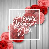 International Happy Women`s Day greeting card with roses flowers and square frame on wood background. Illustration of International Happy Women`s Day greeting Royalty Free Stock Images