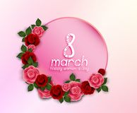 International Happy Women`s Day 8 March floral greeting card with round banner on pink background. Illustration of International Happy Women`s Day 8 March floral vector illustration