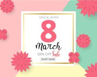 International Happy Women`s Day 8 March holiday background with. Paper cut Frame Flowers. Trendy Design Template. Vector illustration Stock Photos