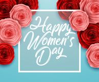 International Happy Women`s Day. Square Frame Luxury for space for text on blue background. Illustration of International Happy Women`s Day. Square Frame Luxury Stock Photos
