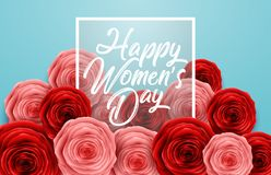 International Happy Women`s Day with square frame and roses flowers on blue background. Illustration of International Happy Women`s Day with square frame and stock illustration