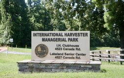 International Harvester Managerial Park, Lakeland, TN. Located at 4523 Canada Road, this 65-acre park consists of rolling hills, a five-acre fishing lake, `The Royalty Free Stock Photography