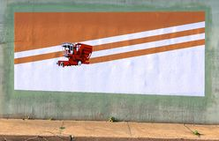 International Harvester Tractor Mural On A Bridge Underpass On James Rd in Memphis, Tn Stock Image