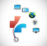 International health care tech network concept. Illustration design isolated over white Royalty Free Stock Images