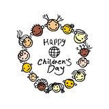 International holiday Happy Children`s Day. Round logo template. royalty free illustration