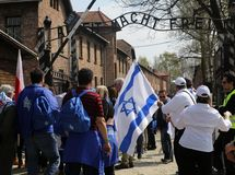 International Holocaust Remembrance Day. OSWIECIM, POLAND - APRIL 16, 2015: International Holocaust Remembrance Day . Annually people from the all the world stock photography