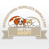 International homeless animals day. Cat and dog. Vector. Royalty Free Stock Images