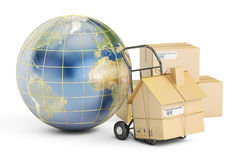 International household moving services concept. 3D rendering Stock Photos