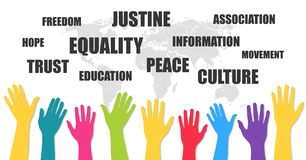 International human rights day. Hands up. Abstract banner. Vector. Illustration royalty free illustration