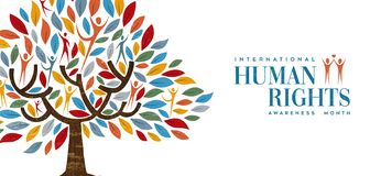 International Human Rights month of people tree. International Human Rights awareness day illustration for global equality and peace with people in tree shape royalty free illustration