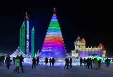 International Ice and Snow Sculpture festival, Harbin, China. HARBIN-FEB. 13, 2015. International Ice and Snow Sculpture Festival. During the event, 800,000 Royalty Free Stock Image