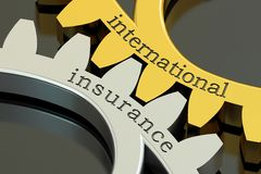 International Insurance concept on the gearwheels, 3D rendering Royalty Free Stock Images