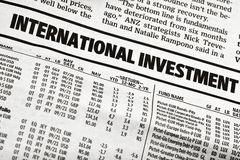 International Investment Table in The Newspaper stock photo