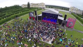International Jazz Festival Usadba Jazz in Archangelskoye Museum-Mansion. MOSCOW - JUNE 4: People attend open-air concert on International Jazz Festival Usadba stock video