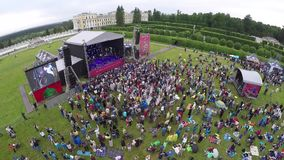 International Jazz Festival Usadba Jazz in Archangelskoye Museum-Mansion. MOSCOW - JUNE 4: People attend open-air concert on International Jazz Festival Usadba stock footage