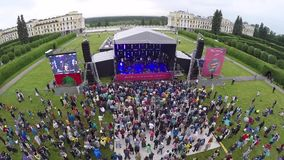 International Jazz Festival Usadba Jazz in Archangelskoye Museum-Mansion. MOSCOW - JUNE 4: People attend open-air concert on International Jazz Festival Usadba stock video footage
