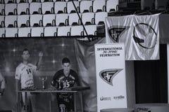 International Jiu-Jitsu Federation banner. Indoors at Romanian National Championship Royalty Free Stock Photo