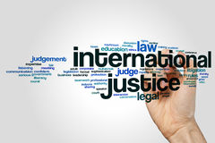 International justice word cloud concept Stock Image
