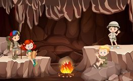 International kids camping in the cave stock illustration