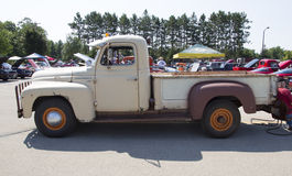 1952 International L-120 Truck Side view. WAUPACA, WI - AUGUST 24:  Side of 1952 International L-120 Truck at Waupaca Rod and Classic Annual Car Show August 24 Stock Images