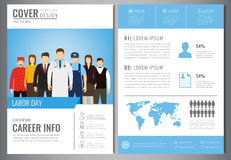 International Labor Day Brochure Design Template. People of different occupations. Flyer with profession icons. Vector Royalty Free Stock Photography