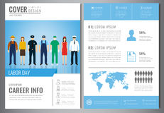 International Labor Day Brochure Design Template. People of different occupations. Flyer with profession icons. Vector Stock Images