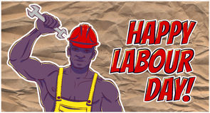 International labor day. The first of may. Illustration of a African american man in overalls with a wrench Stock Images