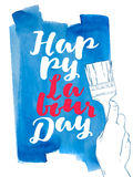 International labor day. The first of may. Illustration of a hand with a brush vector illustration