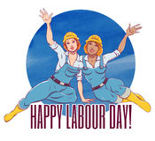 International labor day. The first of may. Illustration for the international labor day. Two sexy girls working in construction helmets and overalls smiling and Stock Photos