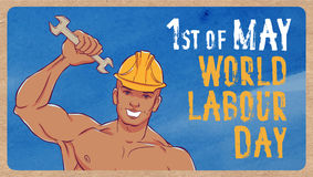 International labor day. The first of may. Illustration of a young man in overalls with a wrench Stock Photography