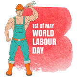 International labor day. The first of may. Illustration of a young man in overalls with a wrench Stock Image