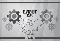 International Labor Day, Handshake Worker Agreement Concept Cogwheel Background Royalty Free Stock Images