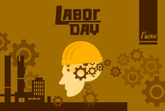 International Labor Day, Man Wear Hard Hat Factory Exterior, Worker Safety Concept. Vector Illustration Stock Image