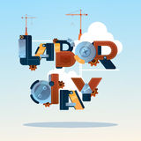 International Labor Day May Holiday Greeting Card. Flat Vector Illustration Stock Images