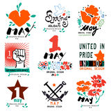 International labor day on 1 may the label. Spring logo. May 1, labor Day logo symbol Stock Photography