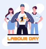 Super workers labour day poster. International labor day on may, standing super employees Royalty Free Illustration