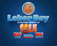 International Labor day, sales, commercial event. Holidays, design background with 3d texts, hammer and wrench for International Labor day, sales commercial royalty free illustration